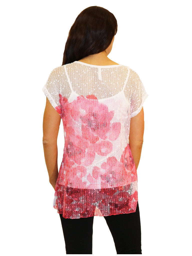 white red lace floral top