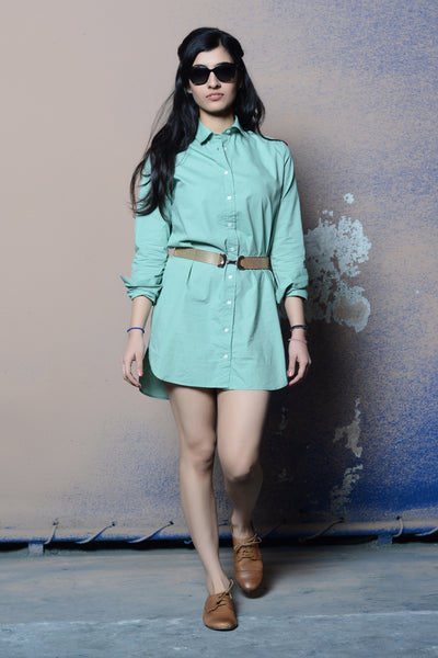Cotton Shirt Dress – Mint Green