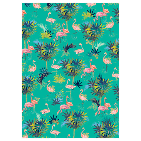 Sara Miller Green Flamingo Flat Wrap