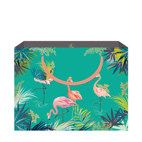 Sara Miller Green Flamingo Shopper Bag