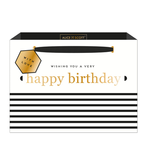 Alice Scott Happy Birthday Stripe Shopper Bag