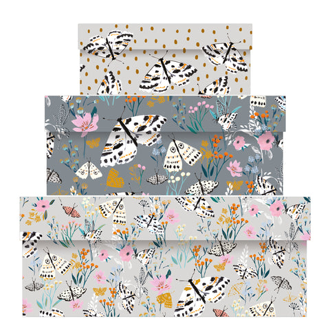 Louise Tiler Grey Floral Nest of Boxes