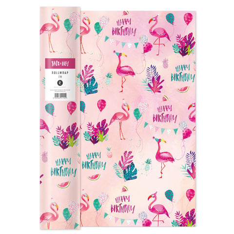 Jack & Lily Flamingo Roll Wrap