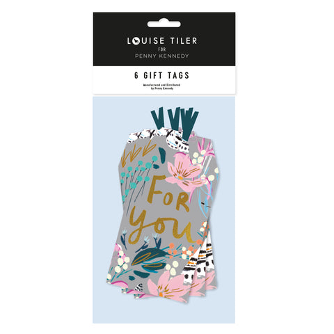 Louise Tiler Grey Floral Tags