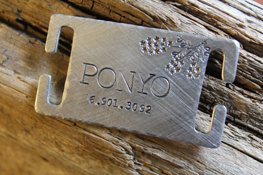 PONYO | Hand Stamped Pet ID Tag | The Landlocked Dog