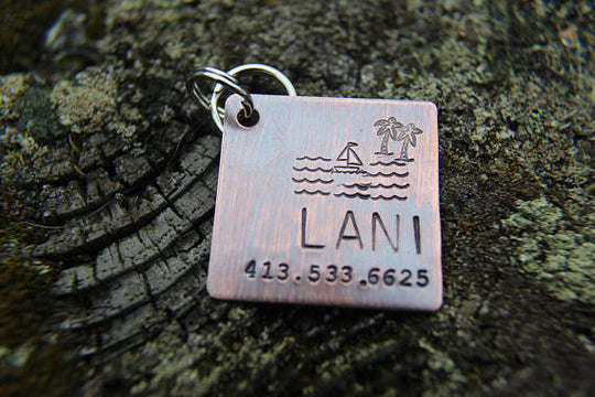 PALM TREE | Hand Stamped Pet ID Tag | The Landlocked Dog