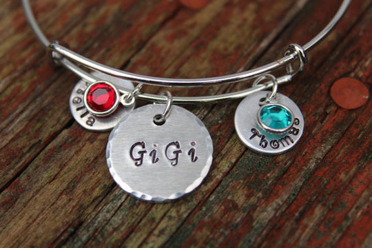 Hand Stamped Grandma Bracelet-Custom Bangle-Nana Bracelet-Personalized Grandmother's Bracelet-Great Grandma-GiGi Gift