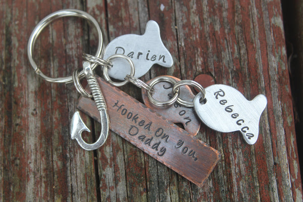 Fishing Keychain for Dad | Hooked on You | Gift for Grampa | Best Catch