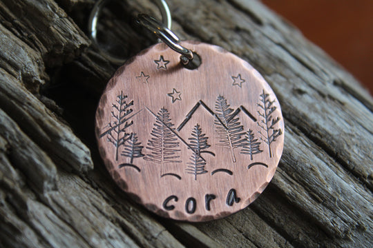 The Cora | Pet ID with Mountains | Hand Stamped Pet ID Tag | The Landlocked Dog