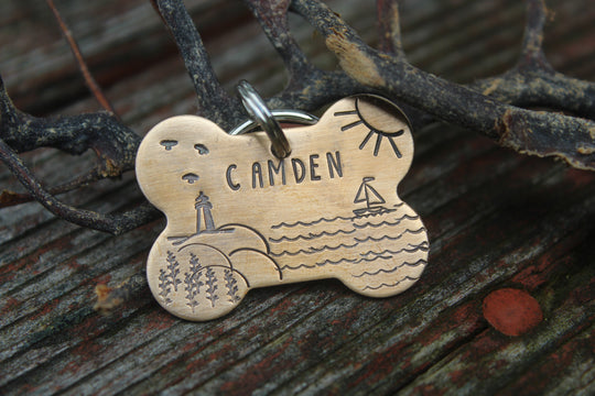 Coastal Dog Tag | Custom Nautical Pet ID | Camden