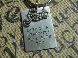 MOTORCYCLE KEYCHAIN | Life Is a Beautiful Ride with You | The Landlocked Dog
