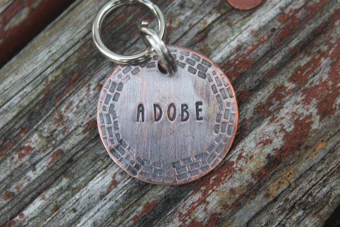 Custom Hand Stamped Dog ID Tag, Personalized Dog Tag, Tag for Small Medium Dog, Copper Dog Tag, Aluminum Pet ID Tag, Hand Stamped Pet Tag