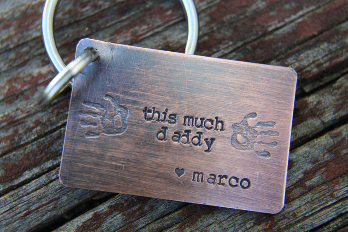 Keychain for dad-Fathers Day Keychain-Gift for Dad-Custom Handstamped Personalized Keychain-love you this much