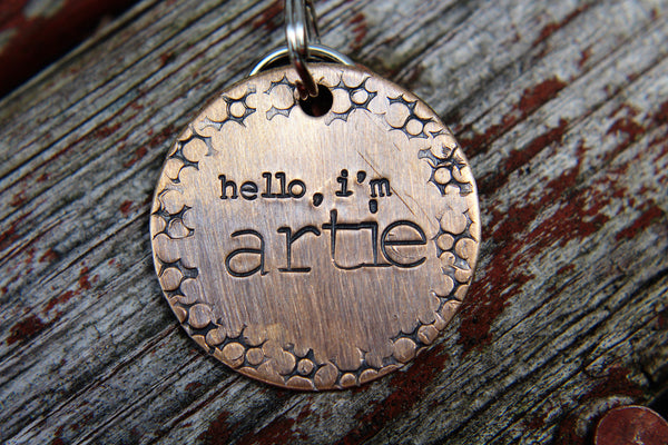 Hand Stamped Pet ID, Custom Dog Tag, ID Tag for Dog, Dog Tag, Pet ID, Dog Collar, The Artie