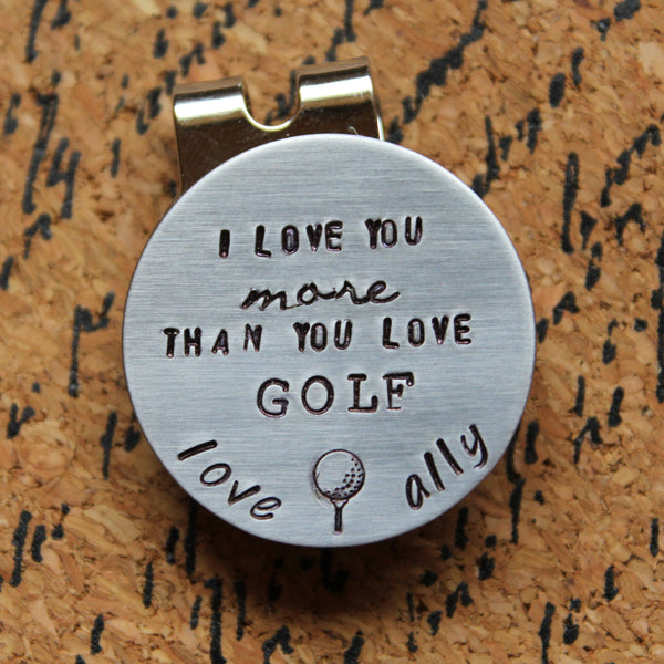 Personalized Golf Ball Marker-Magnetic Golf Ball Marker-Hand Stamped Golf Ball Marker with Hat Clip-Christmas Gift for Dad-Gift for Golfer