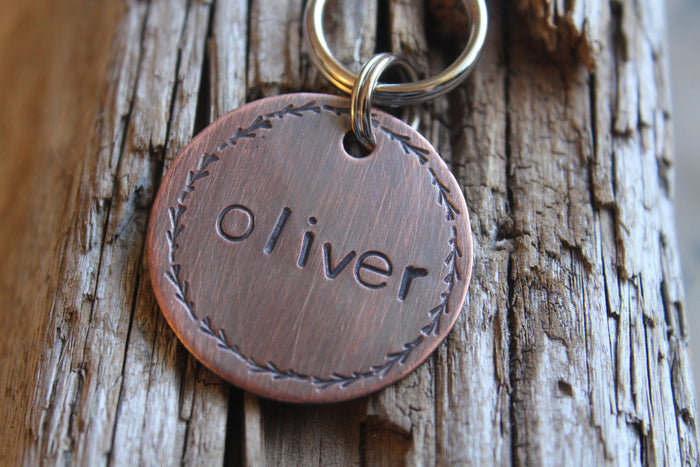 Custom ID Dog Tag, The Oliver, Hand Stamped Dog Tag, Tag for Dog, Puppy Tag, Rustic Tag, Copper Dog Tag, Pet ID, Identification Tag