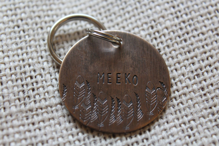 Custom Dog ID Tag-Our Tribe Handstamped Pet Tag- Tag for Medium Dog-Personalized Dog ID Tag-Pet Tag-Dog Tag-Tag for puppy