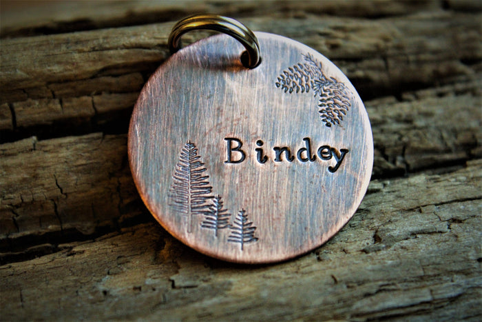 Custom ID Dog Tag, The Bindey, Hand Stamped Dog Tag, Tag for Dog, Tag with Trees, Rustic Tag, Copper Dog Tag, Pet ID, Pine Cones