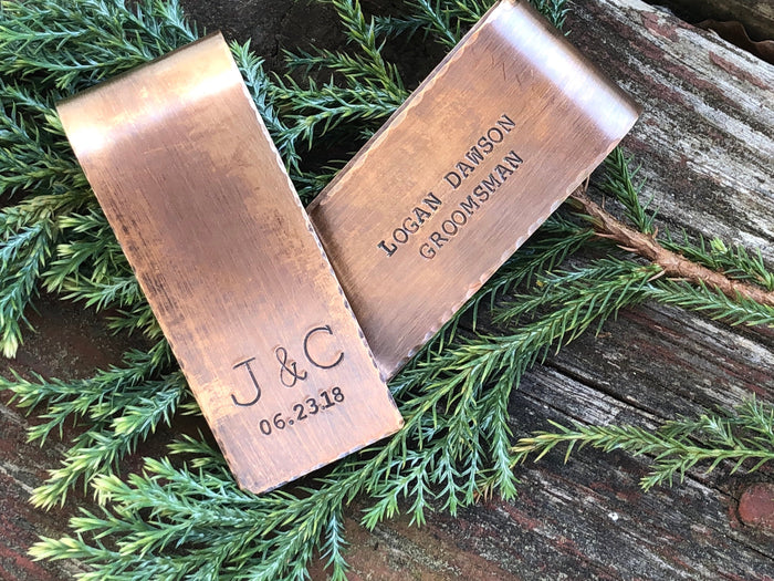 Custom Money Clips for Groomsmen - Gifts for Wedding Party - Personalized Money Clip - Hand Crafted Money Clip in Bronze or Copper