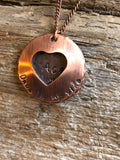 Personalized Pet Remembrance Open Heart Locket - Dog Memorial Necklace - Rainbow Bridge Jewelry - Hand Stamped Copper Silver Memory Necklace