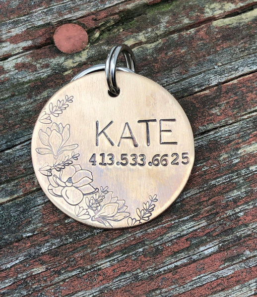 Custom Dog Tag, Dog Tag for Dogs, Floral Dog Tag, Dog Tag with Flowers, Magnolias, Hand Stamped Pet ID Tag, Kate