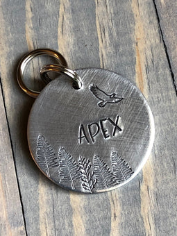 Name Tag for Dog, Dog Tag with Eagle, Pet ID Tag with Trees, Custom Pet Tag, Hand Stamped, Personalized Dog Tag with Hawk