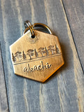 Name Tag for Dog, Hand Stamped Pet ID Tag, Cedar Tree, Personalized Dog Tag for Dog, Rustic Dog Tag, Simple Dog Tag with trees