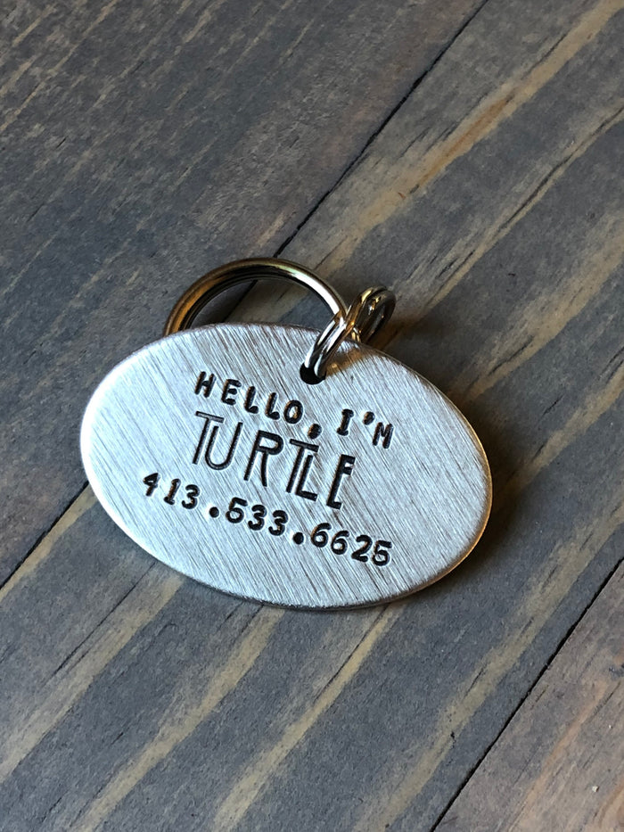 Custom Dog Tag, Hand Stamped Pet ID, Personalized Dog Tag for Dog, Hello, I'm Dog Tag with AHS Font