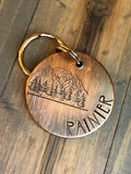 Name Tag for Dog, Hand Stamped Pet ID Tag, Mountain Dog Tag, Personalized Dog Tag for Dog, Rustic, Trees, Hiking
