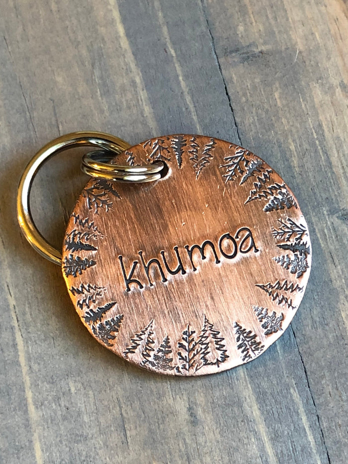 Name Tag for Dog, Hand Stamped Pet ID Tag, Trees, Personalized Dog Tag for Dog, Wilderness Dog Tag, Forest Dog Tag