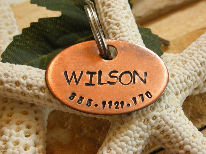 Copper Handstamped Pet ID Tag - The Wilson