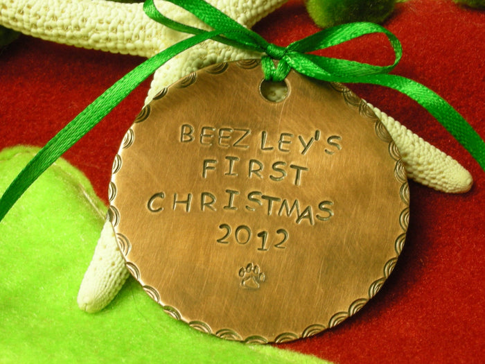 Custom Copper Handstamped Puppy's First Christmas Ornament