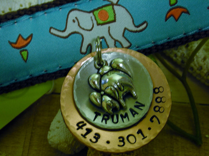 Custom Handstamped Dog/Pet ID Tag-Elephant Mom -Aluminum and Copper Layered Disc with Mom & Baby Elephant