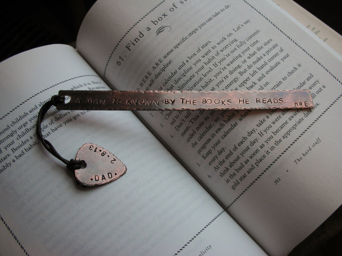 Personalized Handstamped Custom Guitar Pick Bookmark with Quote or Special Message-Anniversary, Boyfriend, Birthday, Valentines Gift