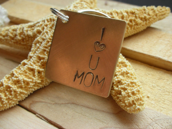 I Love You Mom-Custom Handstamped Personalized Keychain-Mothers Day,Wedding Gift,Anniversary Gift, Birthday Gift