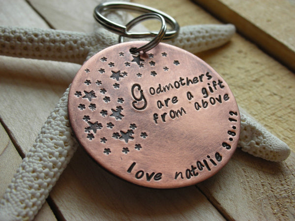 Godparent Keychain-- Gift for Godparents-Gift for Godmother-Gift for Godfather-Baptism-Christening