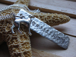 Retired Greyhound Number in Hand Hammered Aluminum Necklace