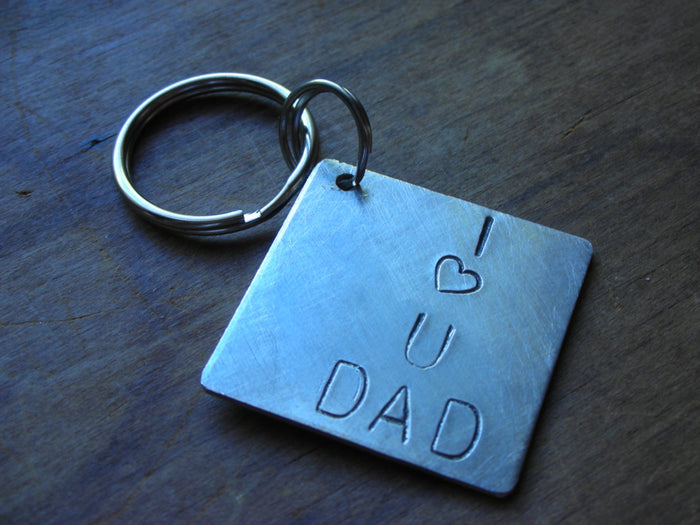 I Love You Dad-Custom Handstamped Personalized Keychain for Father's Day-Christmas Gift for Dad-Gift for Father