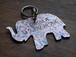 Copper Handstamped Pet ID Tag - Trunks Up
