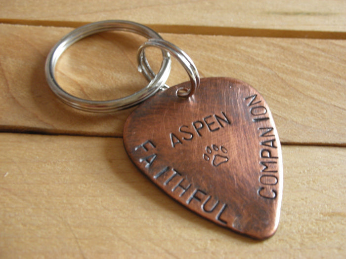 Handstamped Pet Memorial Remembrance Keychain-Faithful Companion Guitar Pick-Dog Memorial for Man-Dog Remembrance for Man
