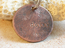 Pet Id Tag-Dog ID Tag-The Daisy Tag- ID Tag for Small or Medium Dog-Cat ID Tag