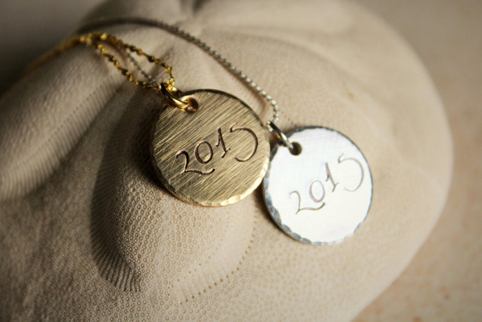 Graduation Necklace, Monogram Necklace, Necklace with Date, Graduation Gift, Year Charm, 2015