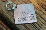 Dog ID Tag, The Axel, Hand Stamped Dog Tag, Custom Pet ID