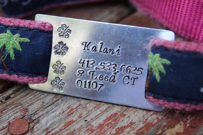 Custom Pet ID Quiet Tag, Slide On Dog ID Tag, Personalized Dog ID Tag, The Hibiscus