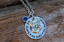 Police Wife Necklace, Police Girlfriend Necklace, Necklace with Custom Police Badge Number, police wives, police mom, thin blue line