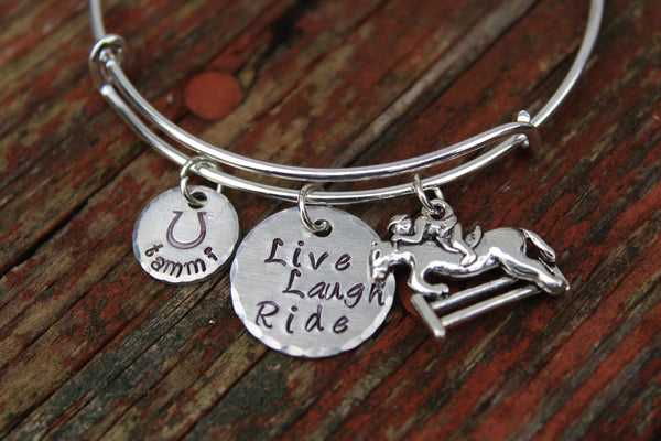 Hand Stamped Equestrian Bracelet-Custom Bangle for Horse Lovers-Horse Bracelet-Personalized Bracelet-