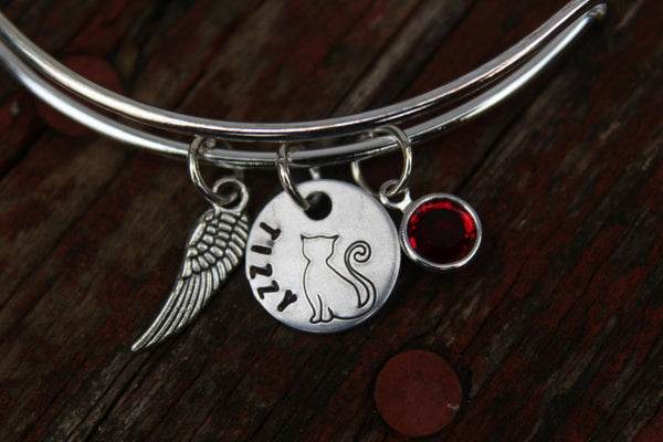Hand Stamped Cat Memorial Bracelet-Custom Bangle for Cat Remembrance-Cat Lovers-Kitty Bracelet-Personalized Bracelet