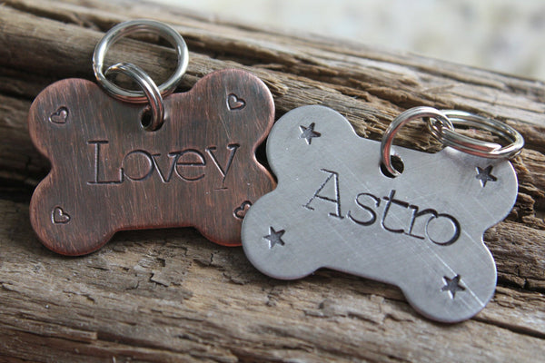 Custom Dog ID Tag, Dog Bone Tag, Hand Stamped Dog Tag, Bone Shaped Pet ID