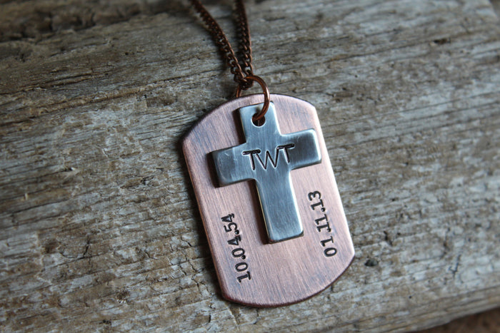 Dog Tag with Cross Remembrance Necklace, Loss of Loved One, Memorial Necklace, Personalized Hand Stamped Memorial Necklace, Custom Dog Tag