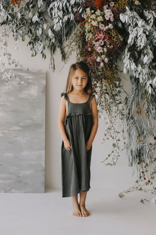 Organic Cotton Frill Dress - Emme Floral